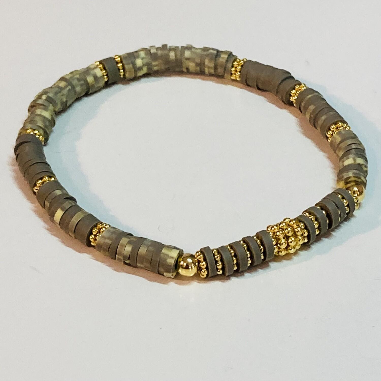 Flexibles Armband aus Katsukiperlen olivgrün