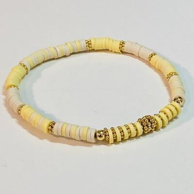 Flexibles Armband aus Katsukiperlen gelb natur