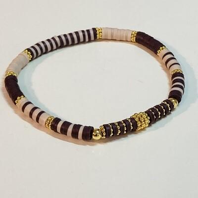 Flexibles Armband aus Katsukiperlen braun beige
