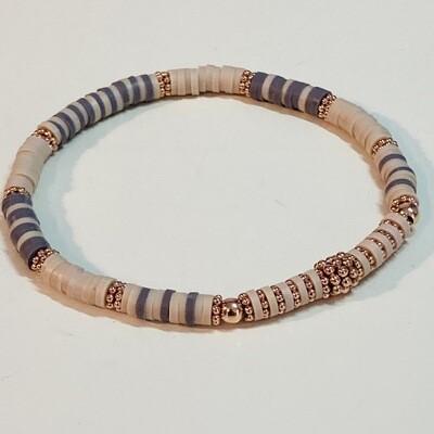 Flexibles Armband aus Katsukiperlen beige taupe