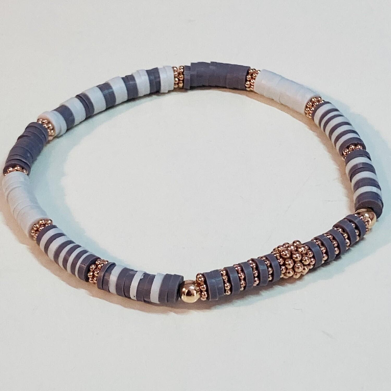 Flexibles Armband aus Katsukiperlen hellgrau dunkelgrau