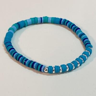 Flexibles Armband aus Katsukiperlen türkis blau