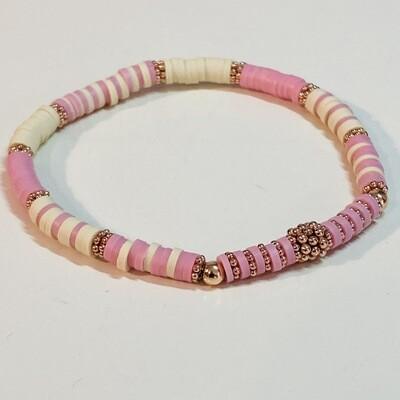 Flexibles Armband aus Katsukiperlen rosa beige