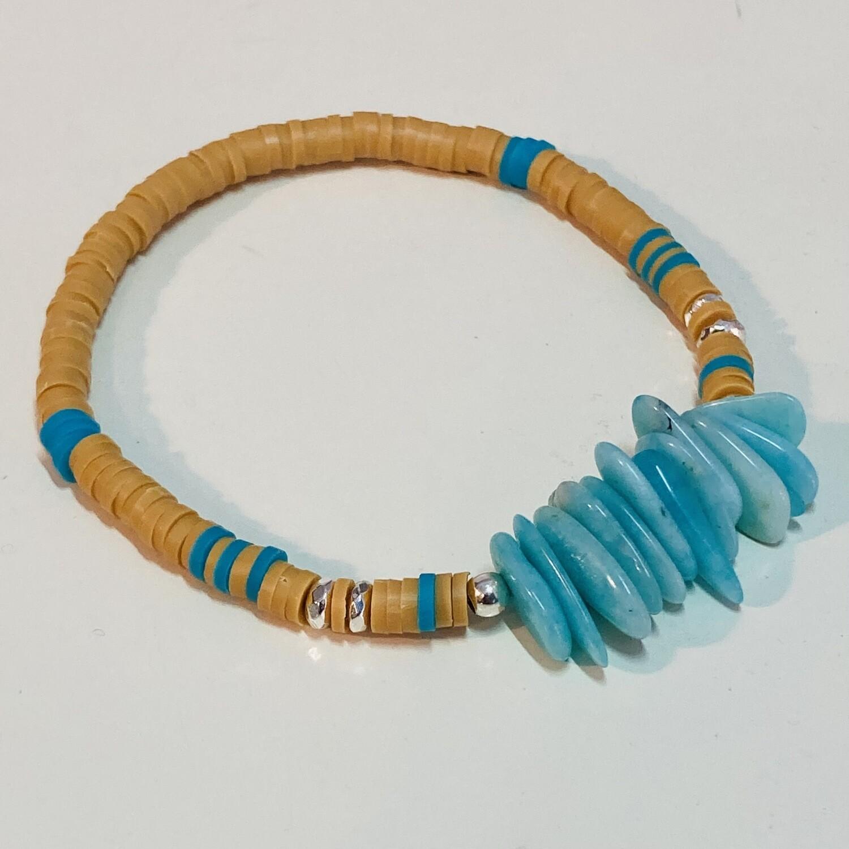Flexibles Armband aus Katsukiperlen und Amazonitsplittern