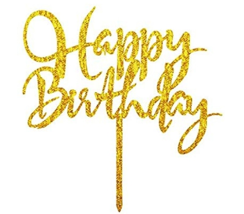 Gold Glitter Acrylic Happy Birthday Cake Topper