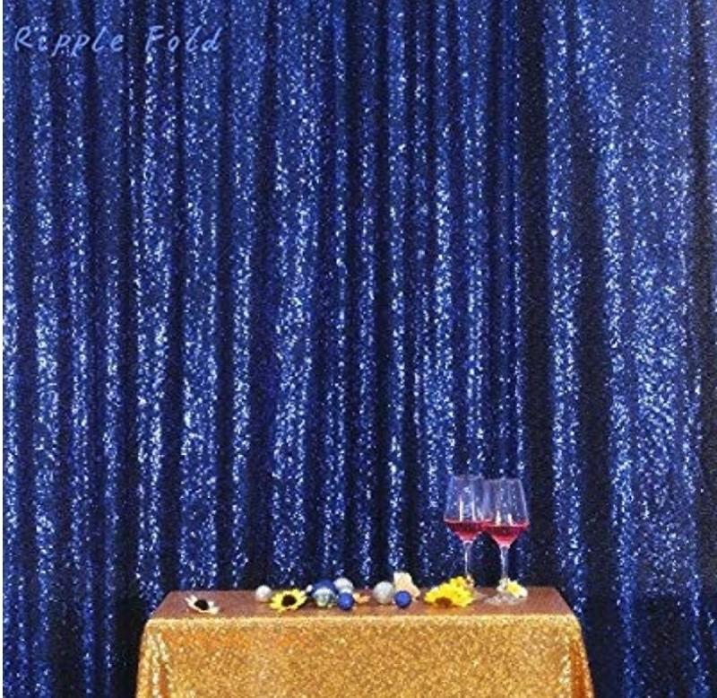 Navy blue sequin backdrop curtian (1)