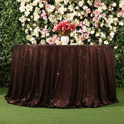 Chocolate sequin 108R Tablecloth  (1)