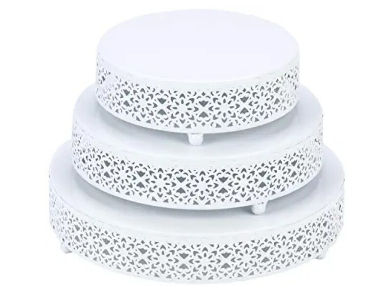 3 Piece White Metal Cake Stands