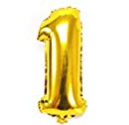 Gold helium number one balloon