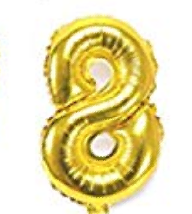 Gold helium number 8 balloon