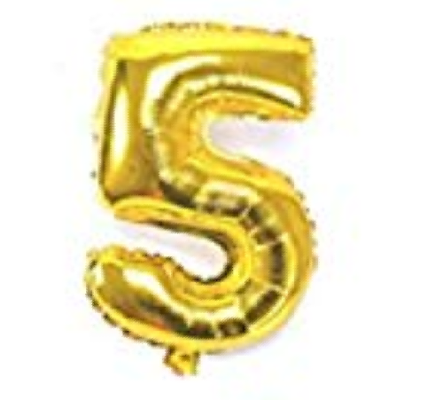Gold helium number 5 balloon