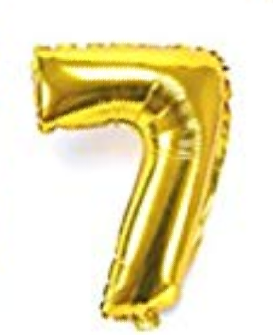 Gold helium number 7 balloon