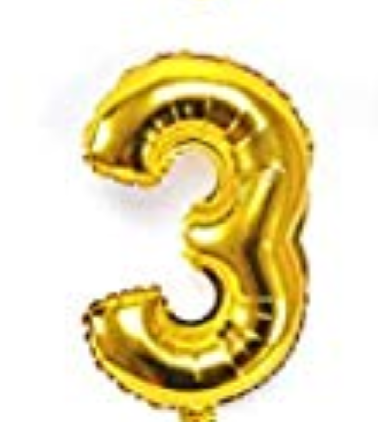 Gold helium number 3 balloon