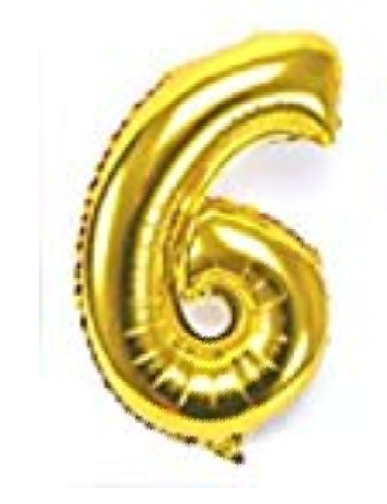 Gold number 6 helium balloon