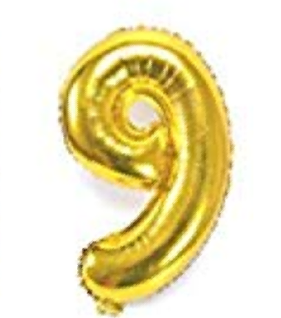 Gold helium number 9 balloon