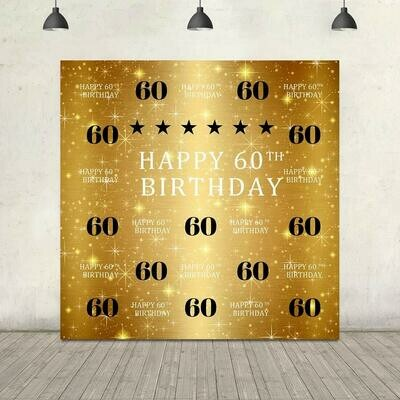 Gold, White and Black 60th Birthday Backdrop (set up included)