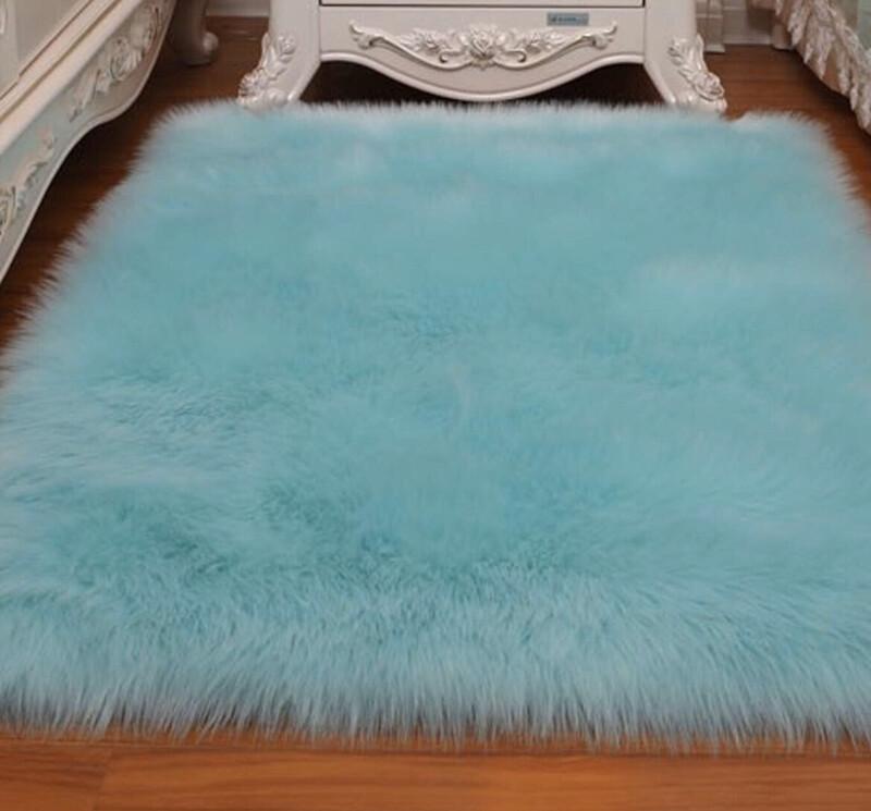 Bluish Green Faux Fur