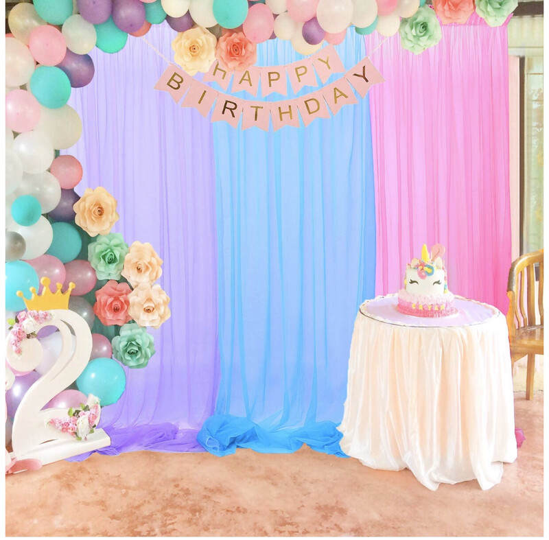 Rainbow Tulle Backdrop Curtains