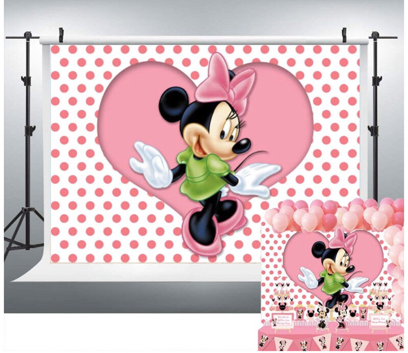 Minnie Mouse Pink And Green Backdrop
