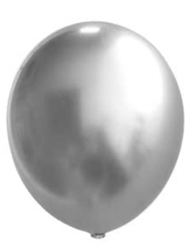 12 Inch Silver Metallic Balloon