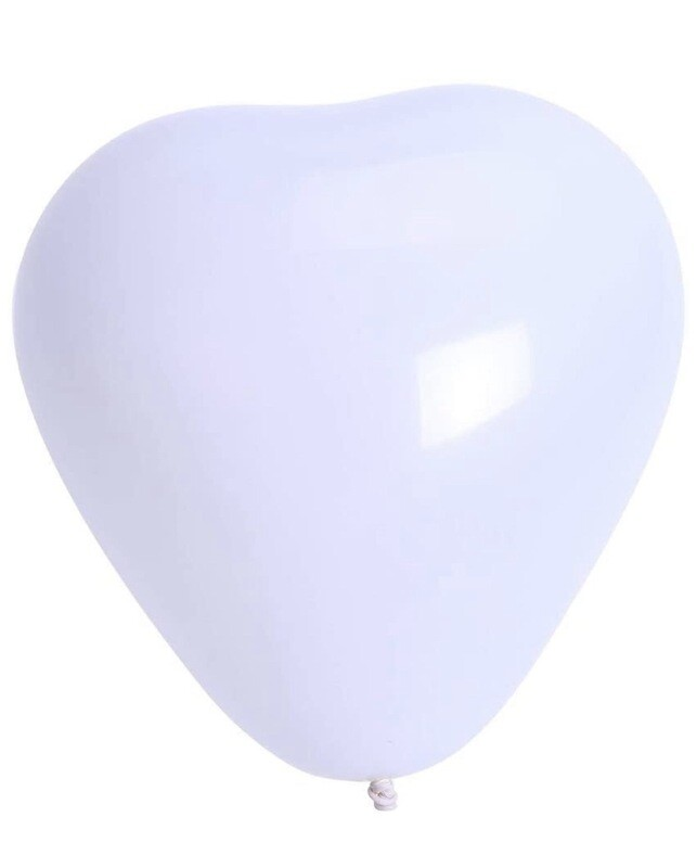 White Heart 12 Inch Latex Balloon