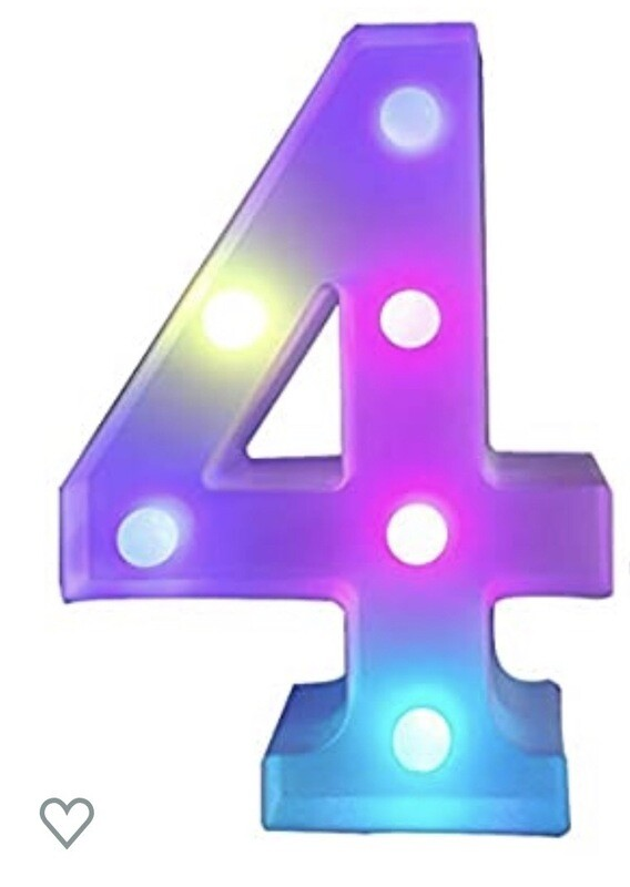 Multi Color Changing Marquee Number 4