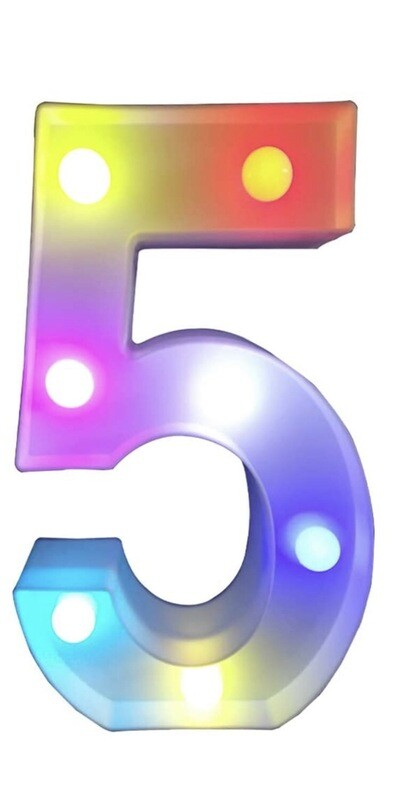 Multi Color Marquee Number 5