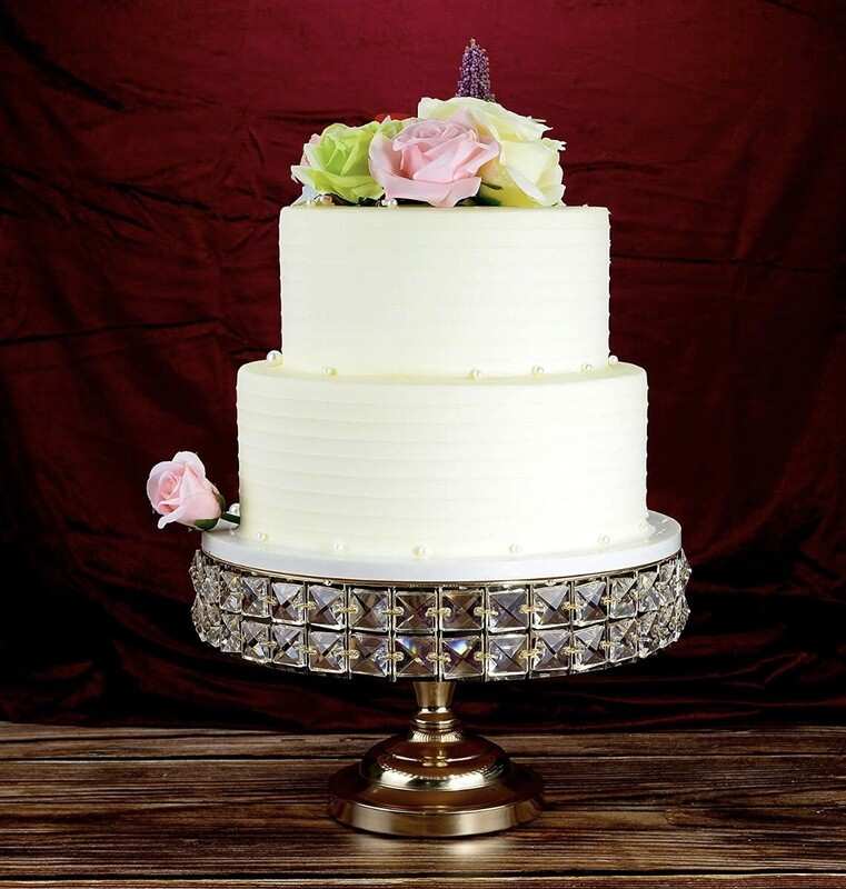Gold Round 12 Inch Cake stand With Genuine Mineral Crystal