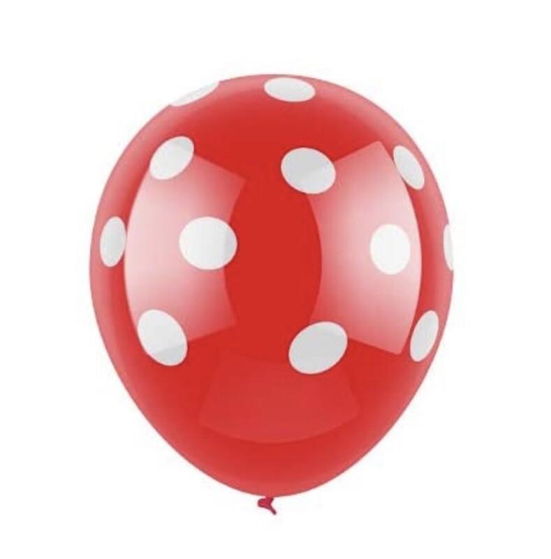 Red And White Polka Dot Latex Balloon
