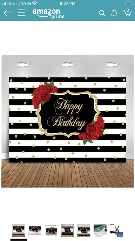 Red Rose Happy Birthday Backdrop