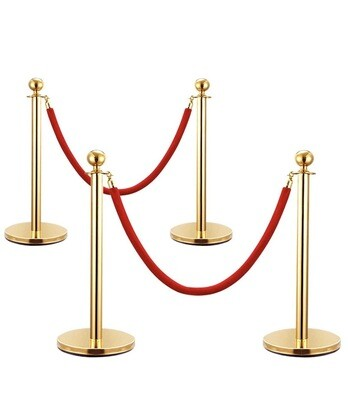 Red Velvet Barrier Rope With Gold Posts