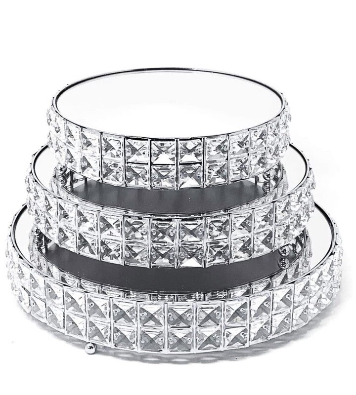 3 Piece Crystal Silver Played Mirror Cake Stands