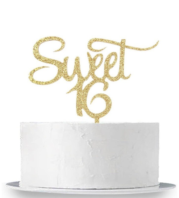Gold Sweet 16 Acrylic Cake Topper