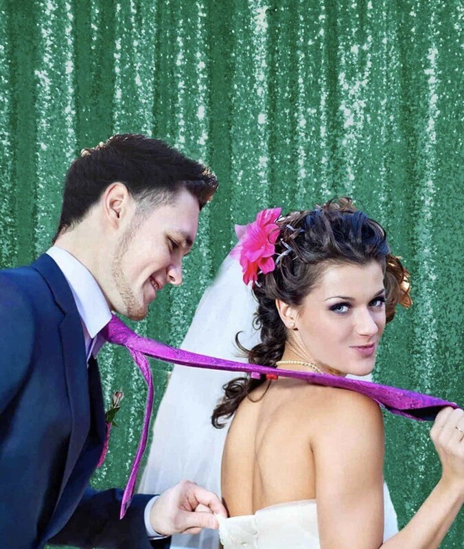 Green Sequin Backdrop Curtain Panel  X1