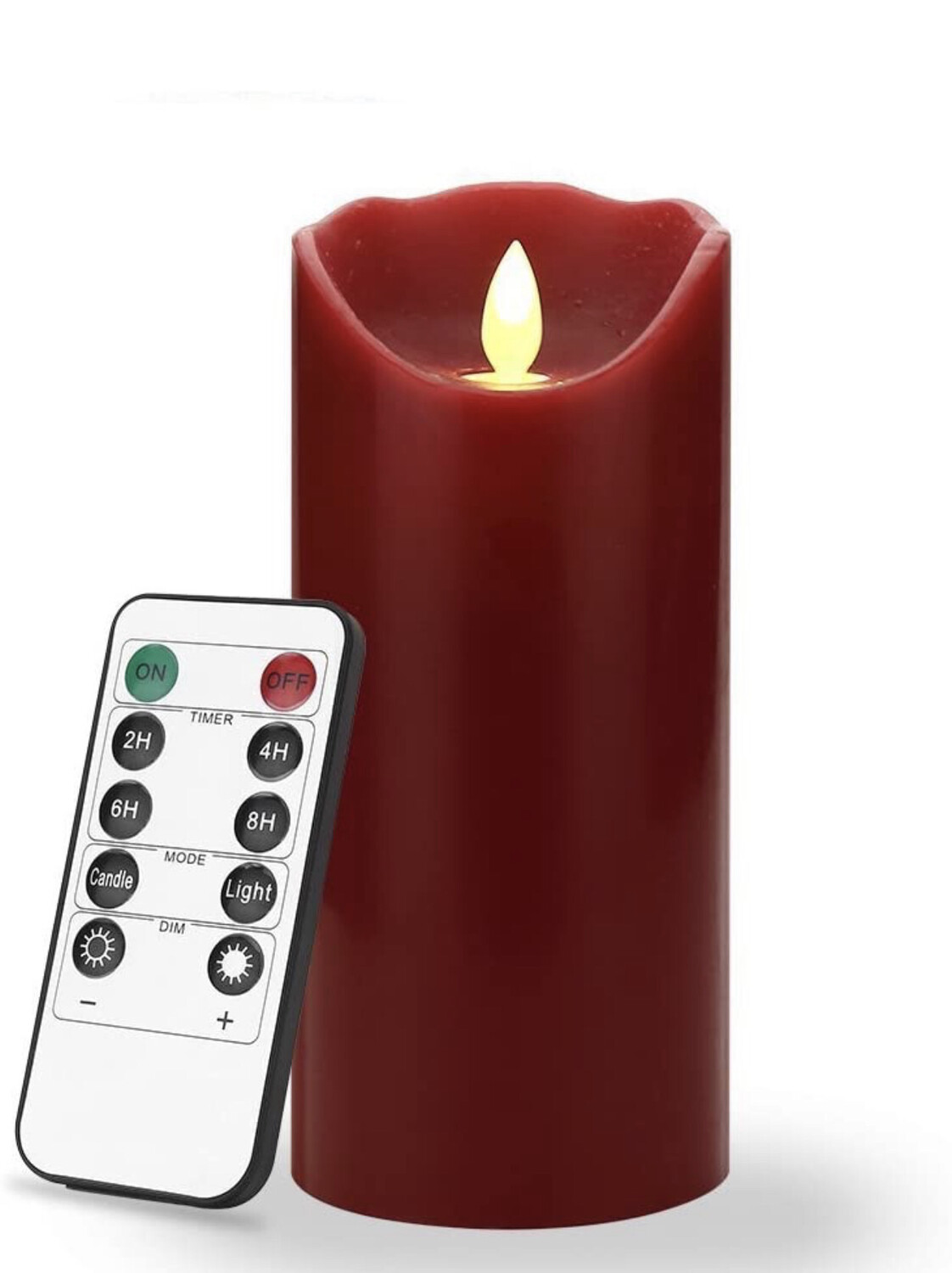 7 inch Flameless LED Candles - Real Wax & Real Flickering Candle Motion ,Burgundy Color