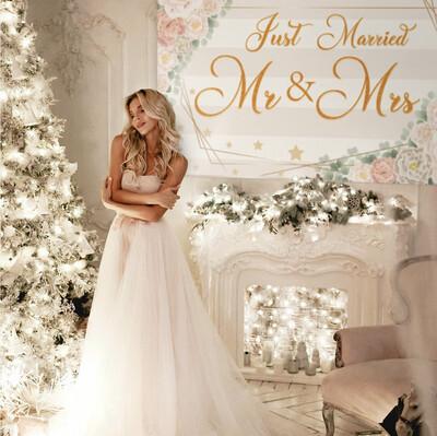 Just Married Mr & Mrs Backdrop Banner Decor Pink – Wedding Bridal Shower