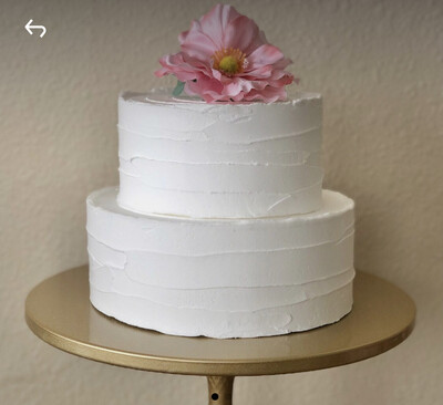 Artificial 2 Tiered White Display Cake