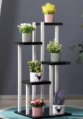 5-Tier Plant Stand Metal Wood Rack Square Flower Pot Holder Display Shelf Black&White