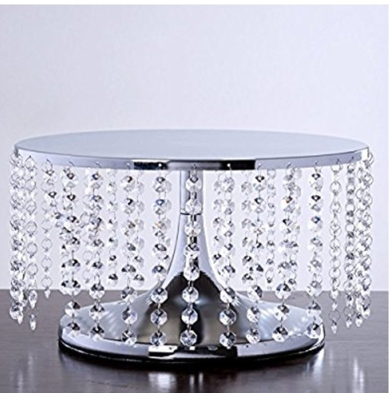 7.5 inch Tall Silver Crystal Chandelier Wedding Cake Stand