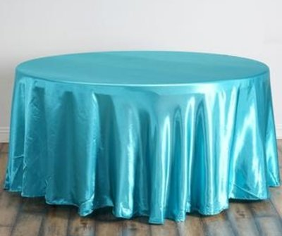Turquoise Satin Table Cloth 120 inch