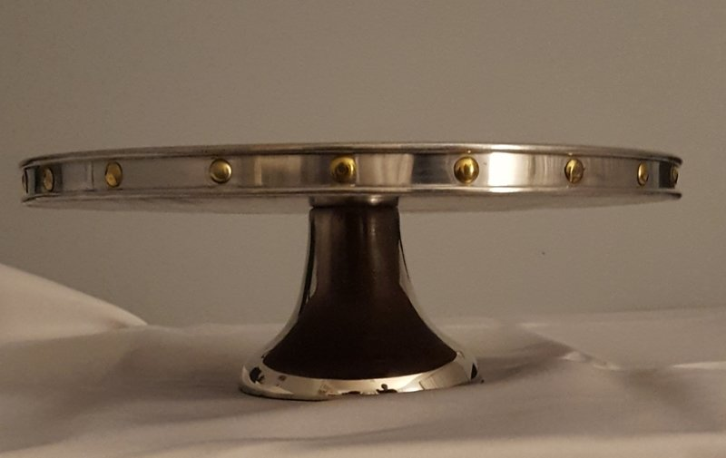 12 -inch Rustic Cake Stand (Wood and Silver)