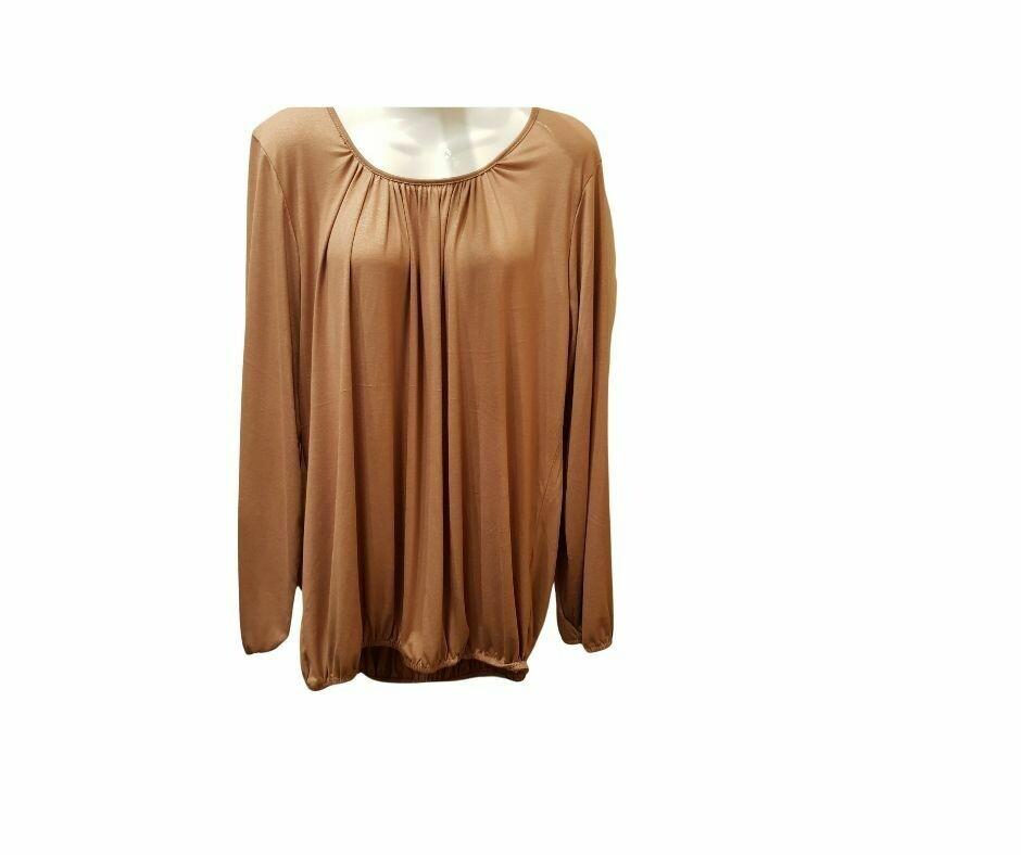 Basic shirt met lange mouw camel