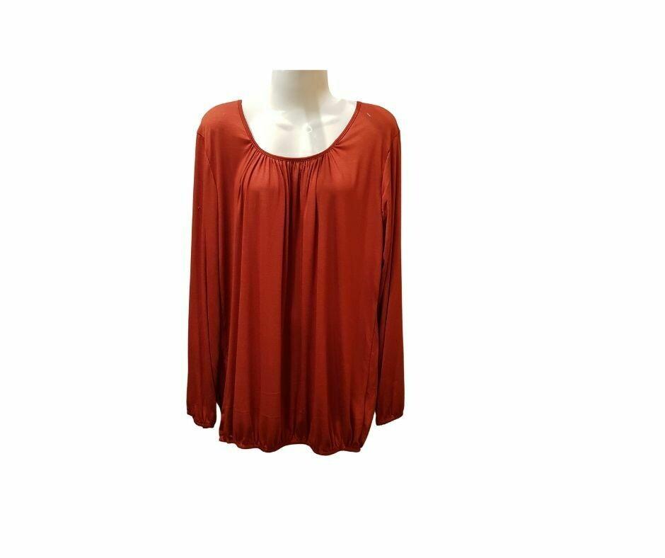 Basic shirt met lange mouw roest bruin