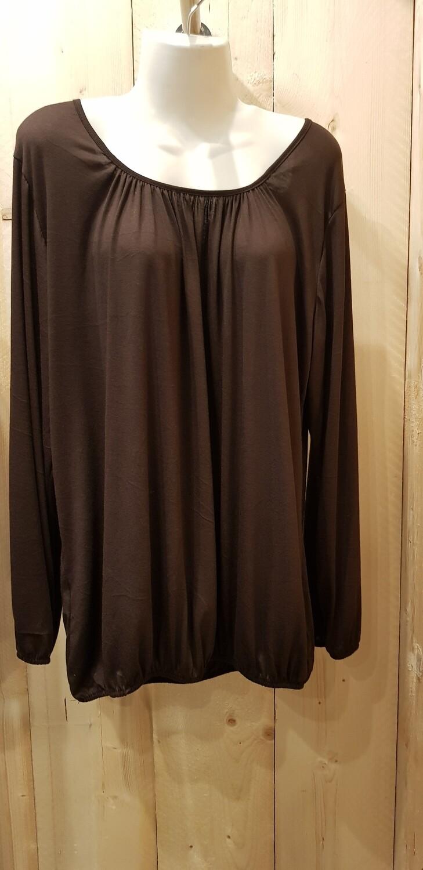Basic shirt met lange mouw bruin
