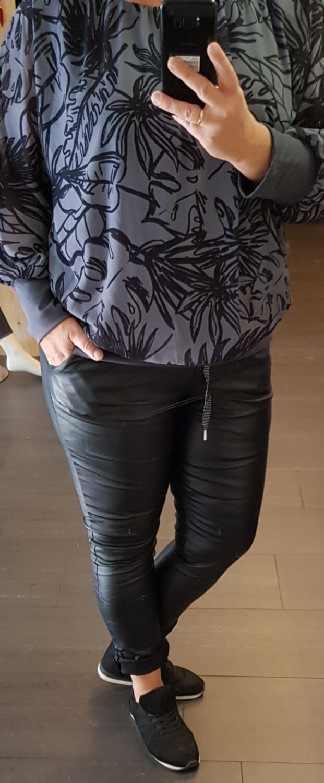 Ballon blouse zwart met grijs
