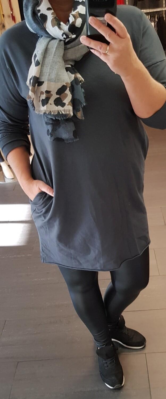 Basic tuniek lange mouw grijs