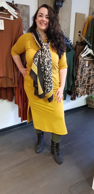 Plus size jogging jurk oker geel