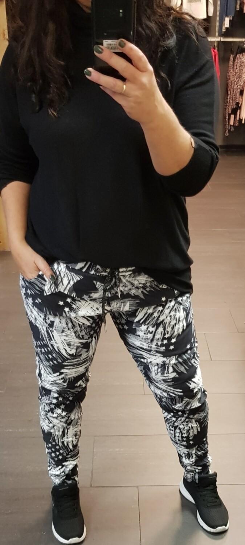 Suedine jogging zwart met wit