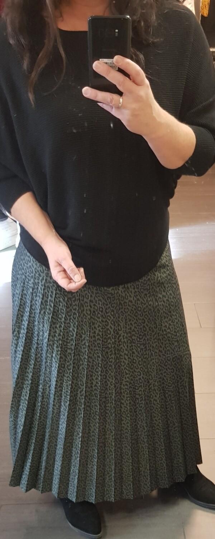 Plisse rok zwart met groen