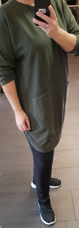 Comfy lange trui met strikjes groen